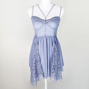 FREE PEOPLE sky blue lace slip trapeze dress s